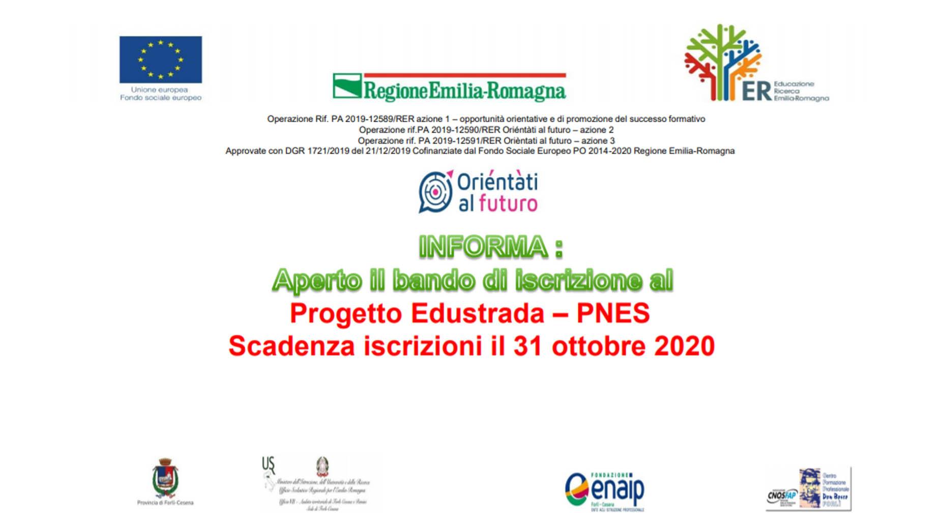 Bando di iscrizione al Progetto Edustrada - PNES